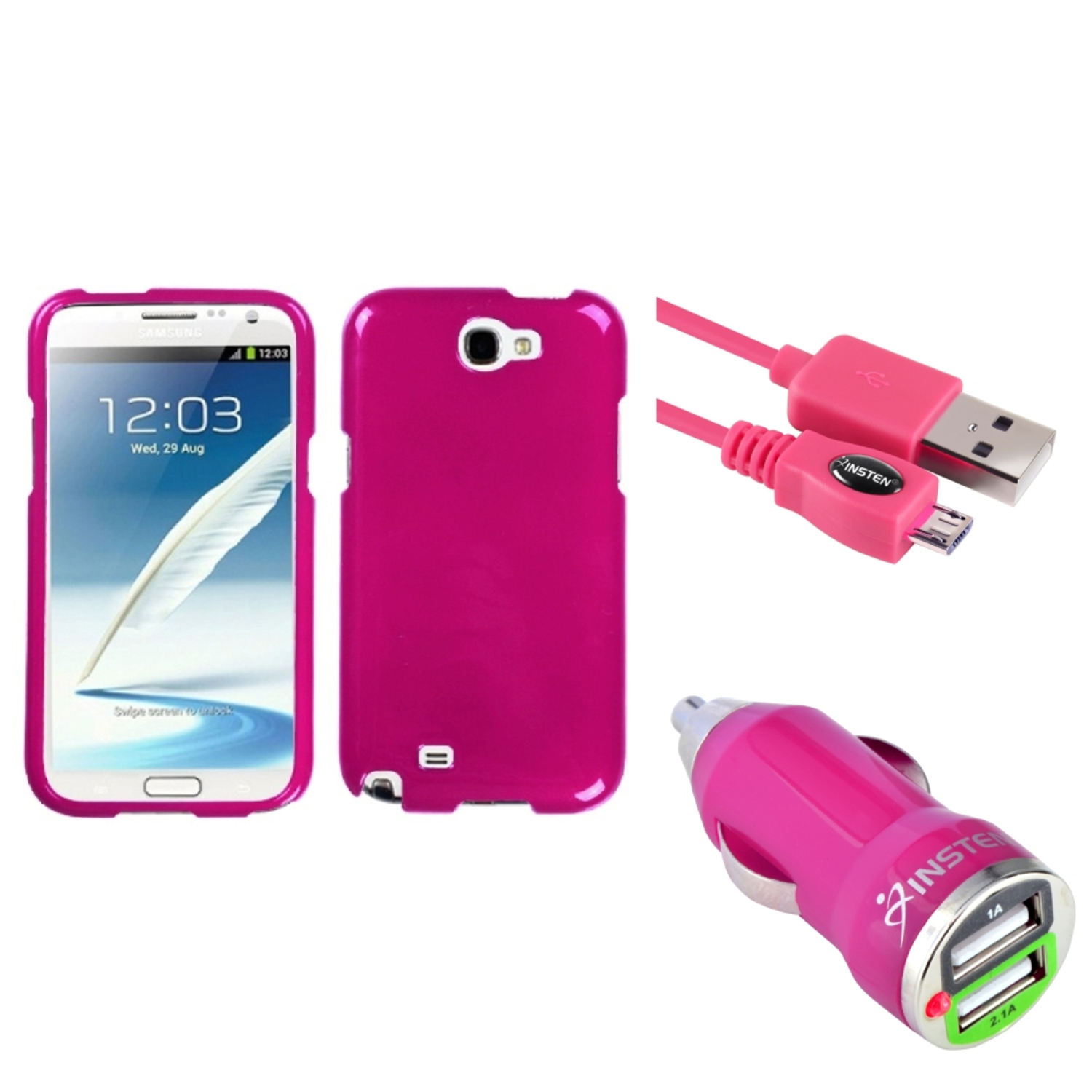 Insten Solid Hot Pink Hard Case+3FT Cable+Dual USB Charger For Samsung Galaxy Note 2 II