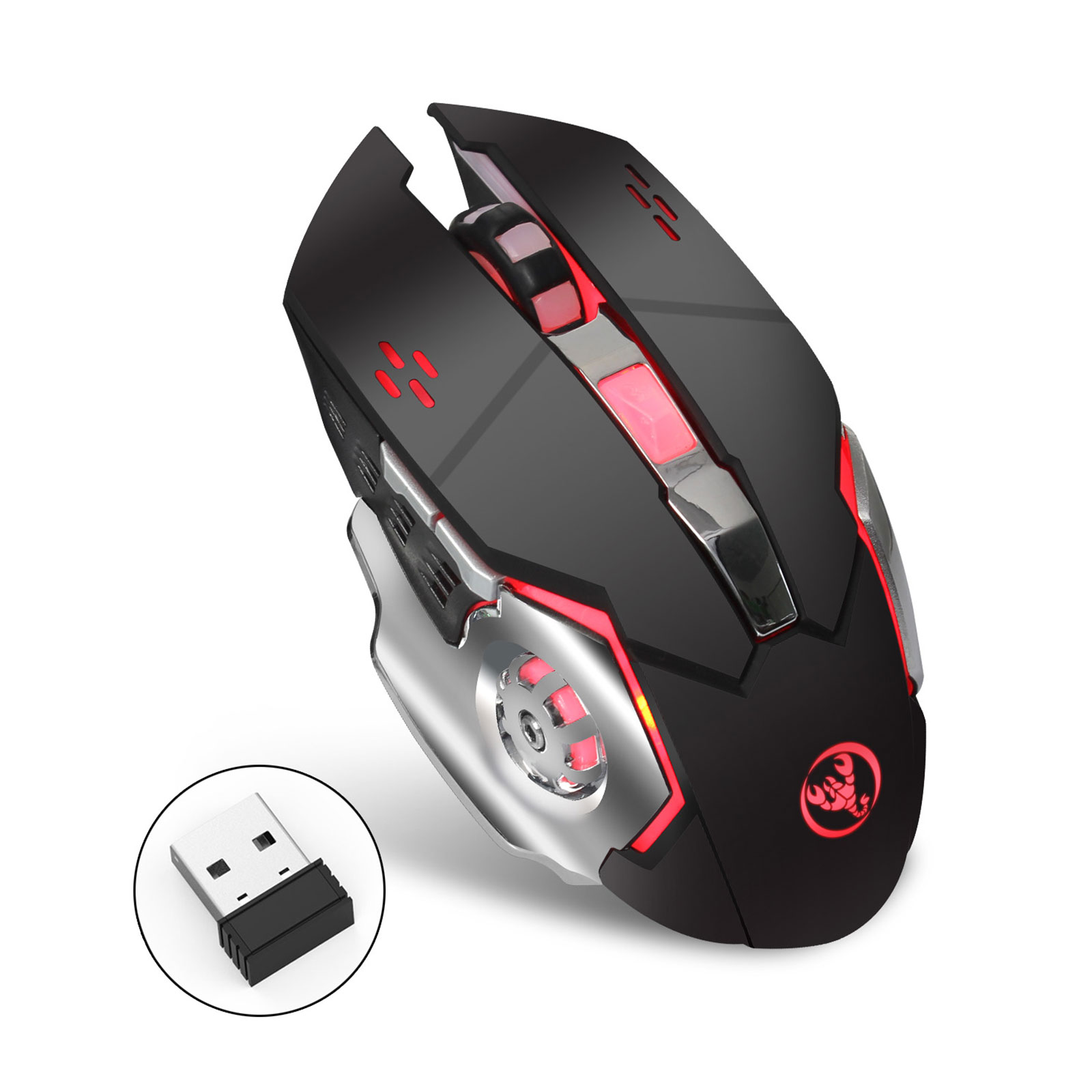 TSV M70 2400 DPI Backlit Rechargeable 2.4GHz Wireless USB Optical Gaming Mouse Mice(UPGRADED VERSION)