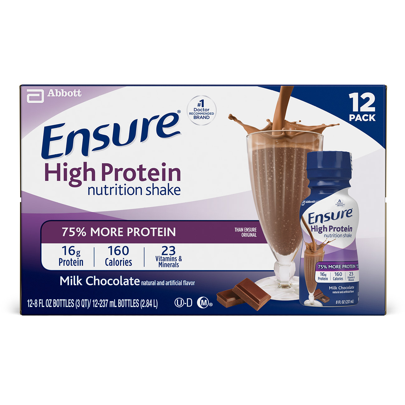 Ensure High Protein Nutrition Shake with 16 grams of high-quality protein, Meal Replacement Shakes, Low Fat, Milk Chocolate, 8 fl oz, 12 count
