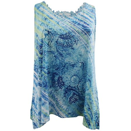 Plus Size Women's Sleeveless Fashion Flowy Lace Back Round Neck Tank Top Blue Green 1X (170.02) (1920s Fashion For Plus Size)