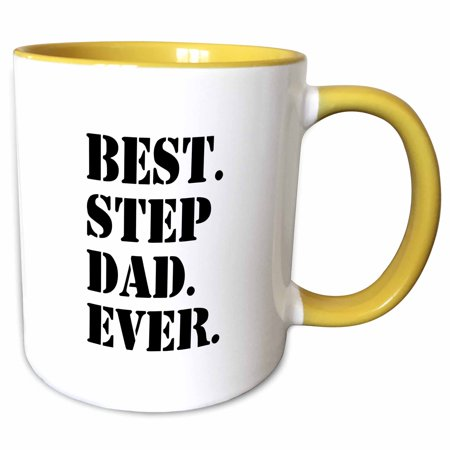 3dRose Best Step Dad Ever - Gifts for family and relatives - stepdad - stepfather - Good for Fathers day - Two Tone Yellow Mug,