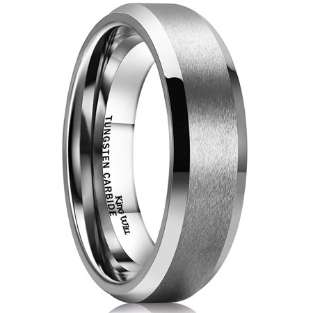 King Will BASIC Tungsten Ring 6mm for Men Beveled Edge Comfort Fit 12.5 Beveled Edge Tungsten Ring