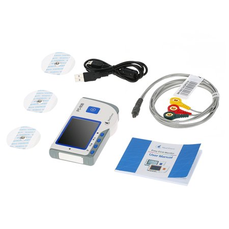 Continuous Monitor - Force PC-80B Professional Easy ECG Monitor ECG Monitoring Machine LCD Heart Health Monitor Easy Handheld Portable USB Continuous Measuring Function
