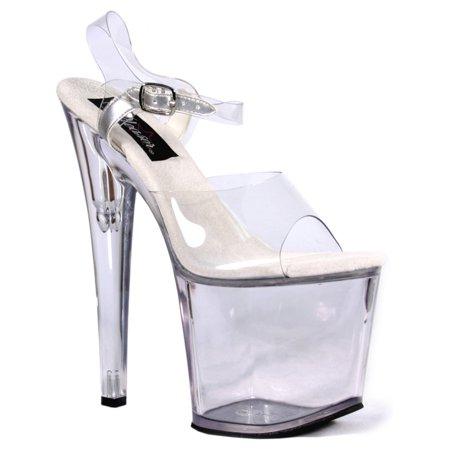 womens sexy evening shoes 7 1/2 inch heel platform sandals clear ankle (Womens Sexy Evening Shoes)