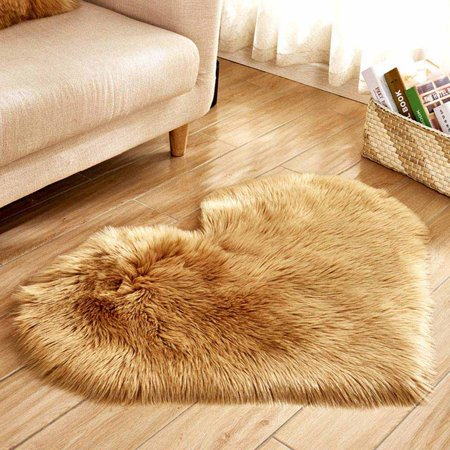 KABOER Love Heart Shaggy Fluffy Rugs With Wool Rug Carpet Bedroom Washable  Necess#wds