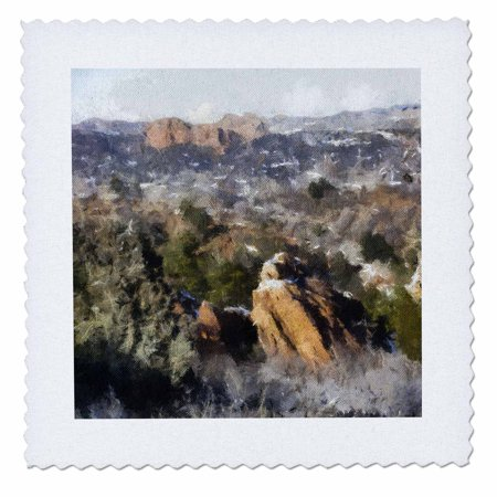 3dRose Colorado Mountains View from Red Rock Canyon - Quilt Square, 10 by 10-inch (Red Rocks Colorado)