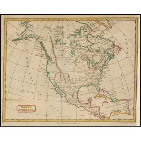 LAMINATED POSTER North America. From Arrowsmith\'s Large Map POSTER PRINT 24  x 36