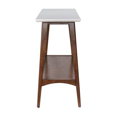 "GHP 48""X16""X32"" White Top & Pecan Base Rubber Wood MDF & Veneer Console Table w Shelf"