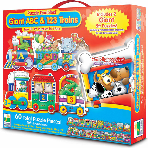The Learning Journey Puzzle Doubles, Giant ABC and 123 Train Floor Puzzles by The Learning Journey