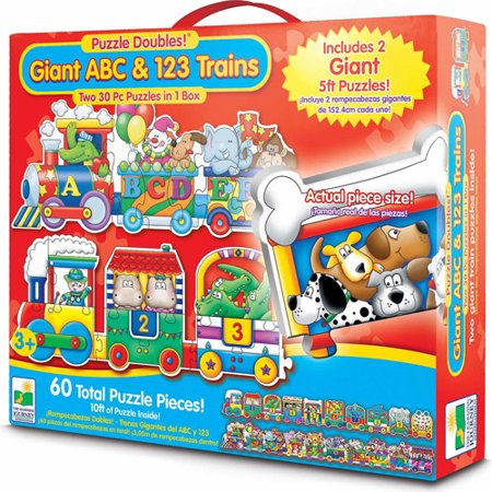 The Learning Journey Puzzle Doubles  Giant Abc And 123 Train Floor Puzzles
