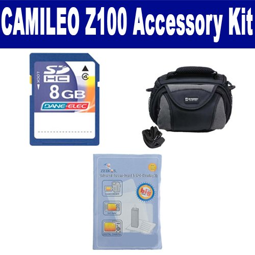 Toshiba Camileo Z100 Camcorder Accessory Kit includes: SDC-26 Case, ZELCKSG Care & Cleaning, KSD48GB Memory Card