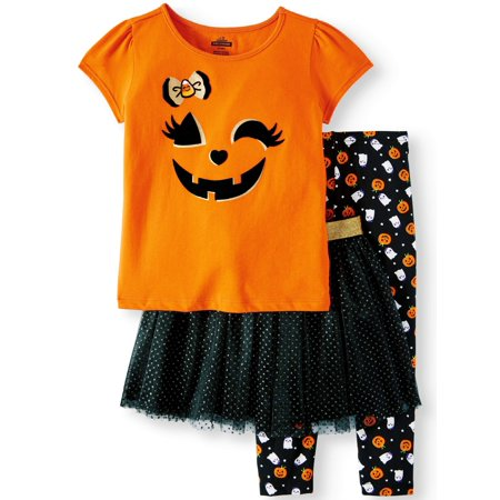 Halloween Short Sleeve T-Shirt, Leggings & Glitter Tutu, 3pc Outfit Set (Toddler Girls)