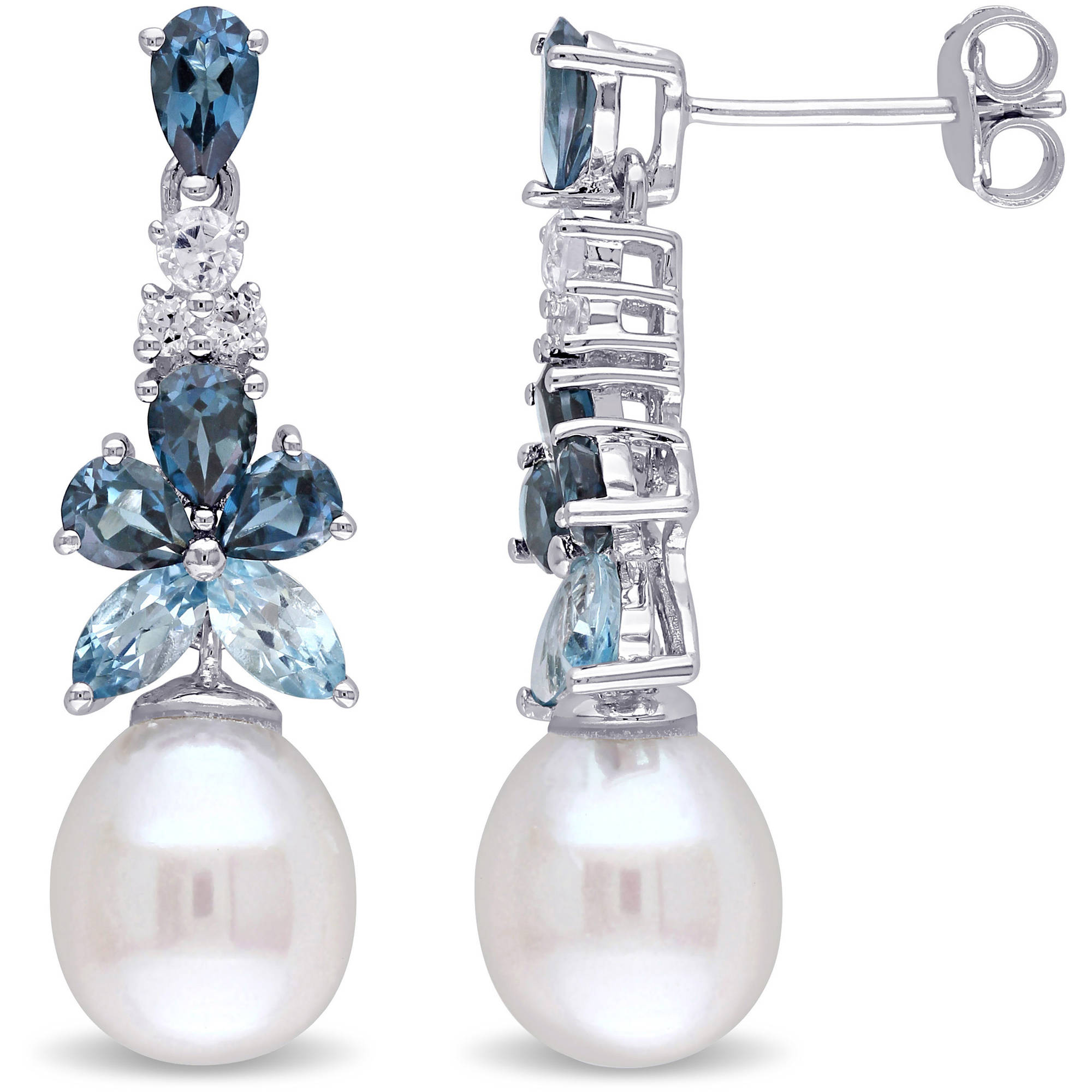 Tangelo 8.5-9mm White Rice Cultured Freshwater Pearl with 2-1/2 Carat T.G.W. Blue and White Topaz Sterling Silver Flower Dangle Earrings