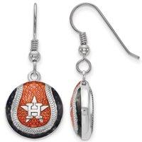Houston Astros Women's Sterling Silver Enameled Baseball Earrings - No Size