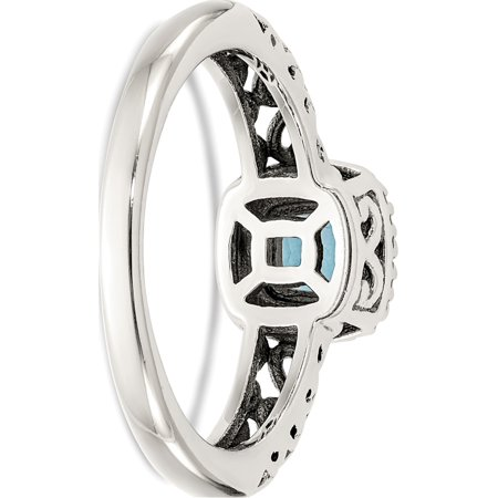 Sterling Silver w/14k Gold Blue Topaz Ring - image 3 of 6
