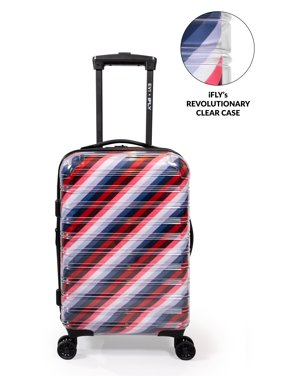 """EV1 x iFLY Hardside Fibertech 20"""" Carry-on Luggage, Clear Luggage with See Through Exterior and Striped Interior Lining"""