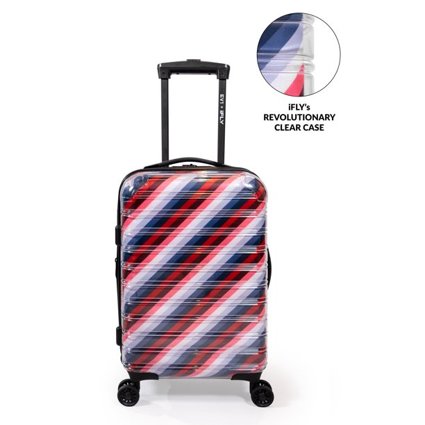 "EV1 from Ellen DeGeneres - EV1 x iFLY Hardside Fibertech 20"" Carry-on  Luggage, Clear Luggage with See Through Exterior and Striped Interior Lining  - Walmart.com - Walmart.com"
