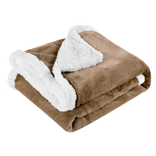 LANGRIA Blanket Reversible Flannel/Sherpa ThrowSoft Cozy ...