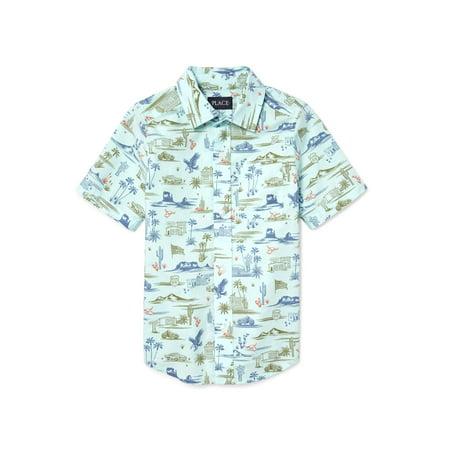 The Children's Place Short Sleeve Hawaiian Print Pocket Oxford (Big