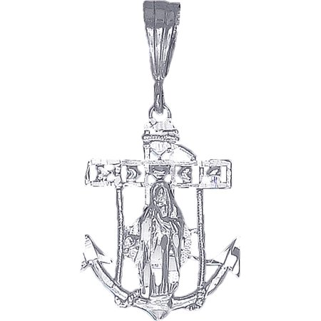 - Sterling Silver Anchor Cross with Virgin Mary and Hearts Diamond Cut Finish with Figaro Chain