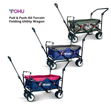 - Pull Push Collapsible Utility Folding Wagon Cart with All Terrain Wide Tire