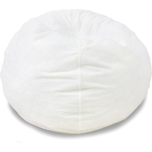 white bean bag chair Classic Fuzzy Bean Bag Chair, White   Walmart.com white bean bag chair