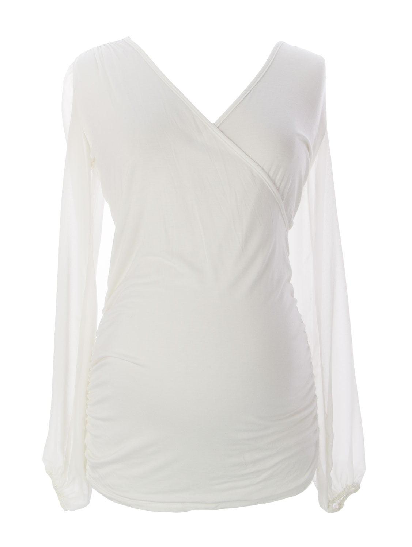 JULES & JIM Maternity Women's Shawl Neck Blouse, Medium, White