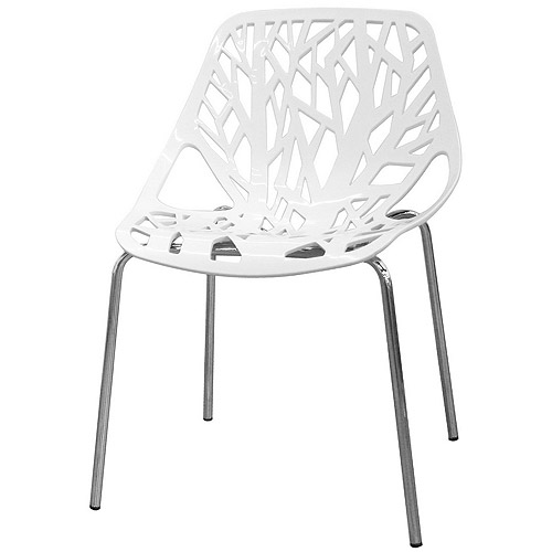 Baxton Studio Birch Sapling Accent / Dining Chair, White