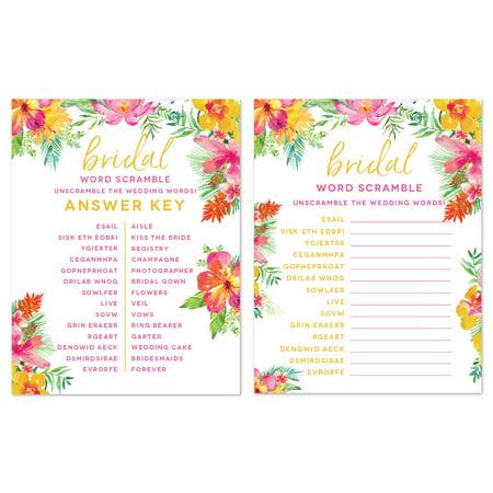 Tropical Floral Garden Party Wedding, Wedding Word Scramble Bridal Shower Game Cards, -