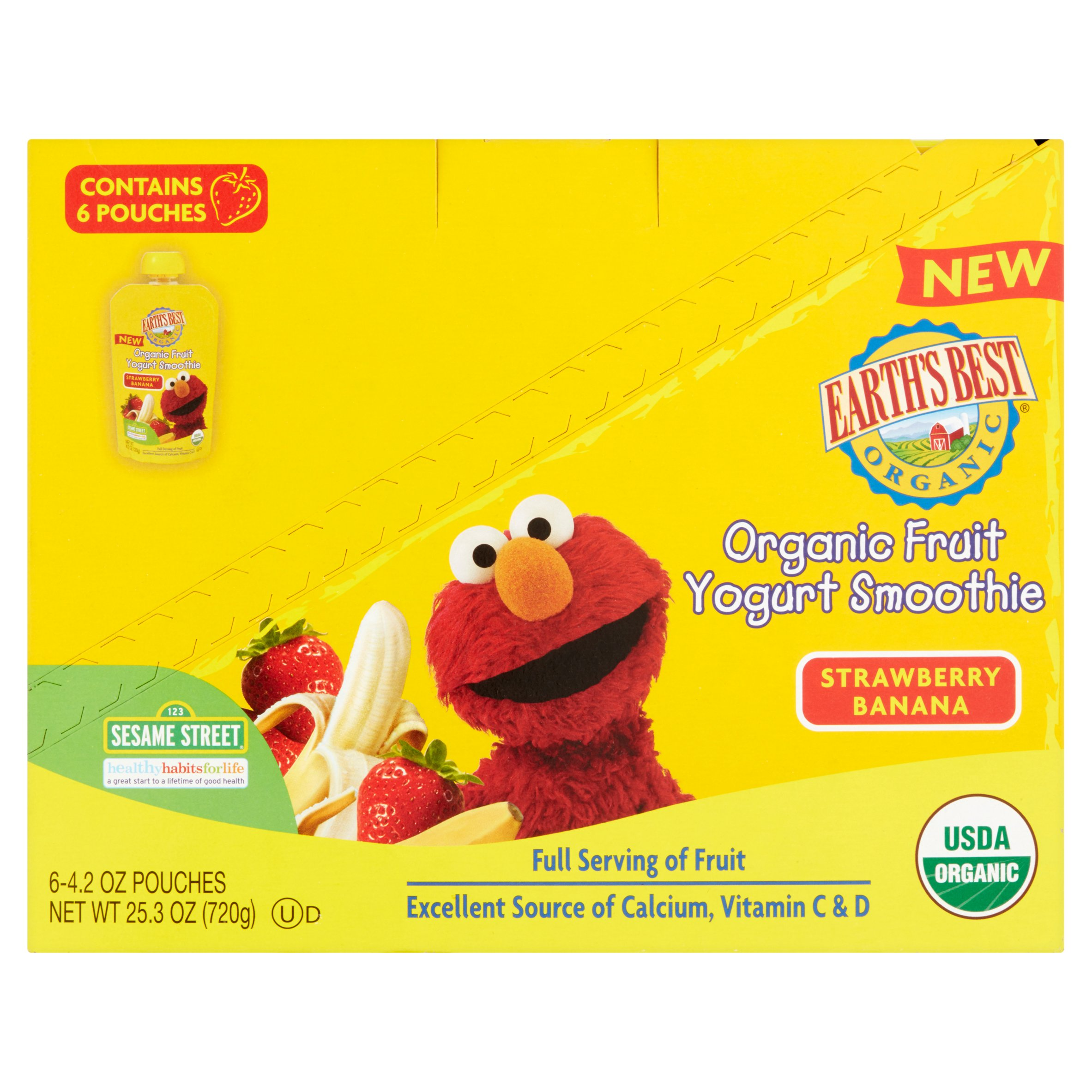 Earth's Best Organic Sesame Street Strawberry Banana Fruit Yogurt Smoothie, 4.2 oz, (Pack of 6)