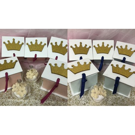 Little Prince Golden Crown Favor Treat box 3.25
