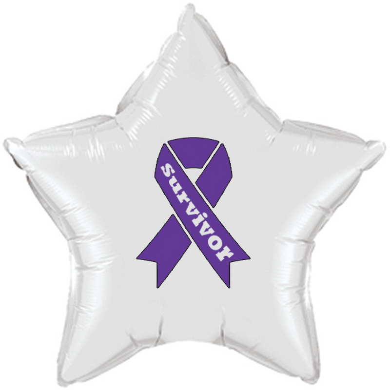 Partypro TQP-2161 Cancer Survivor Purple Ribbon Mylar Balloon