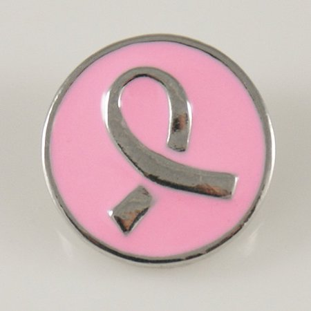 1 PC 18MM Pink Enamel Awareness Ribbon Silver Snap Candy Charm kb7588 CC0006 Candy Guy Enamel Italian Charm