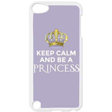 Keep Calm and Be a Princess-Lavender Hard White Plastic Case Compatible with the Apple iPod Touch 4th Generation - iTouch 4 Universal