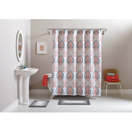 Better homes and gardens medallion 15 piece bath set shower curtain and bath rugs included for Better homes and gardens shower curtains