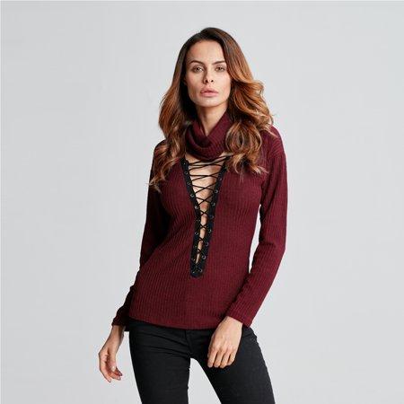 0da80fdd241c ZANZEA Women Seep V Neck Lace-up Ribbed Knit Sweater Loose Sexy Choker Tops  Jumper