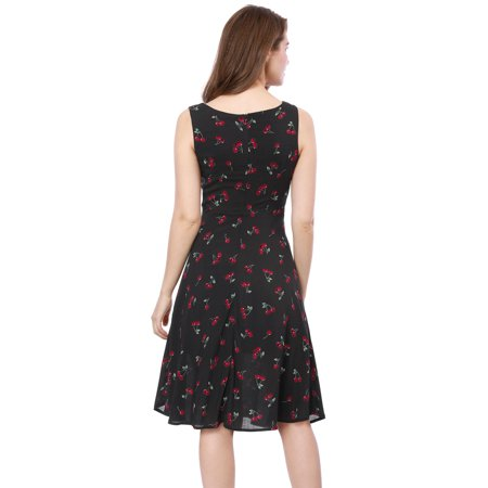 Unique Bargains Women's 1950s Sleeveless Cherry Print Midi Flare Vintage Dress Black (Size M / 10) - image 2 of 6