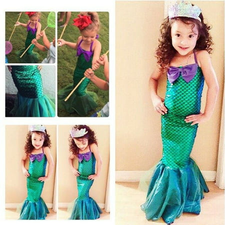 Kid Ariel Child Little Mermaid Set Girl Princess Dress Party Halloween Costume (Sun Drop Girl Halloween Costume)