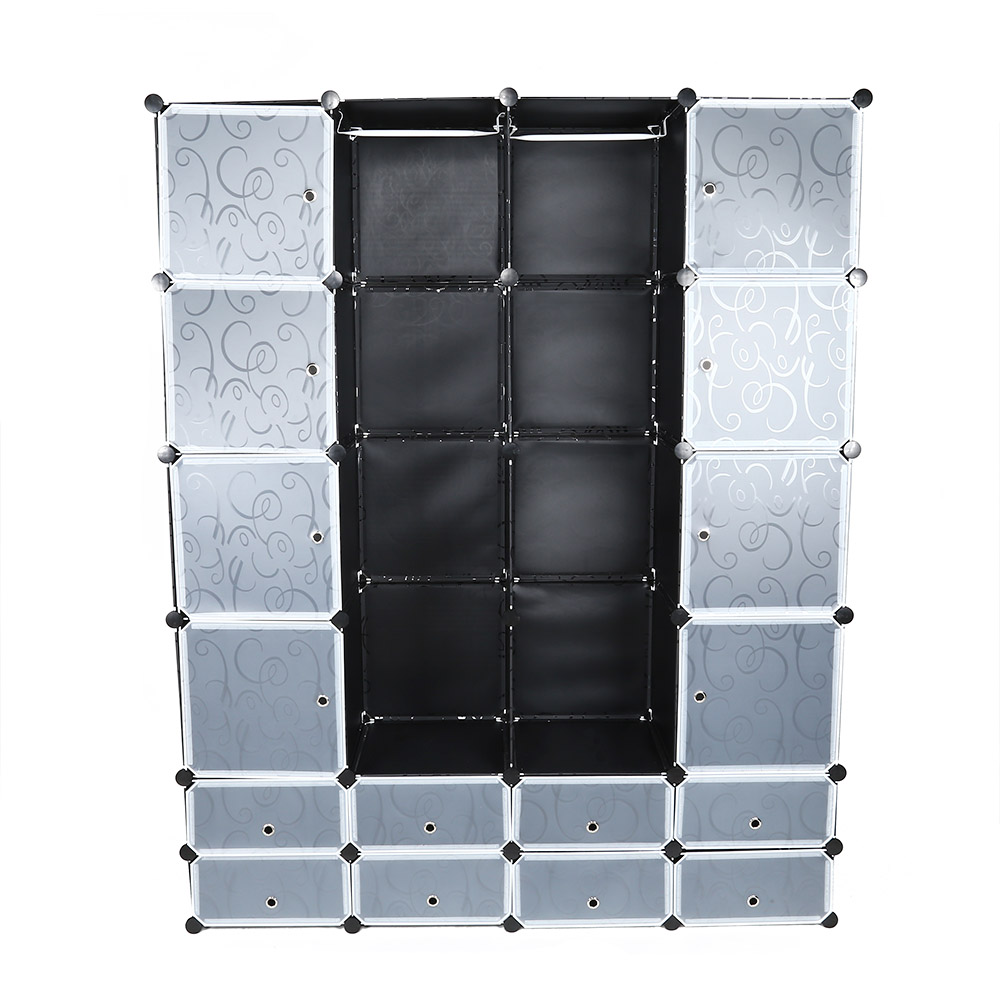 Multi Use 24 Cube Clothes Closet Modular Wardrobe With Shoe Storage Cover  And Hanging Rod