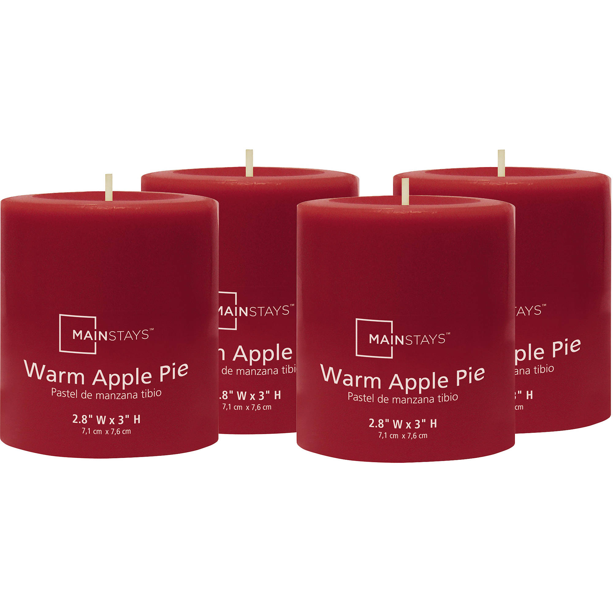 "Mainstays 3"" Pillar Warm Apple Pie Scented Candle, Set of 4"