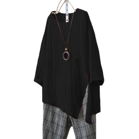 Plus Size Women Long Sleeve Cotton Linen Kaftan Baggy Blouse T Shirt Loose