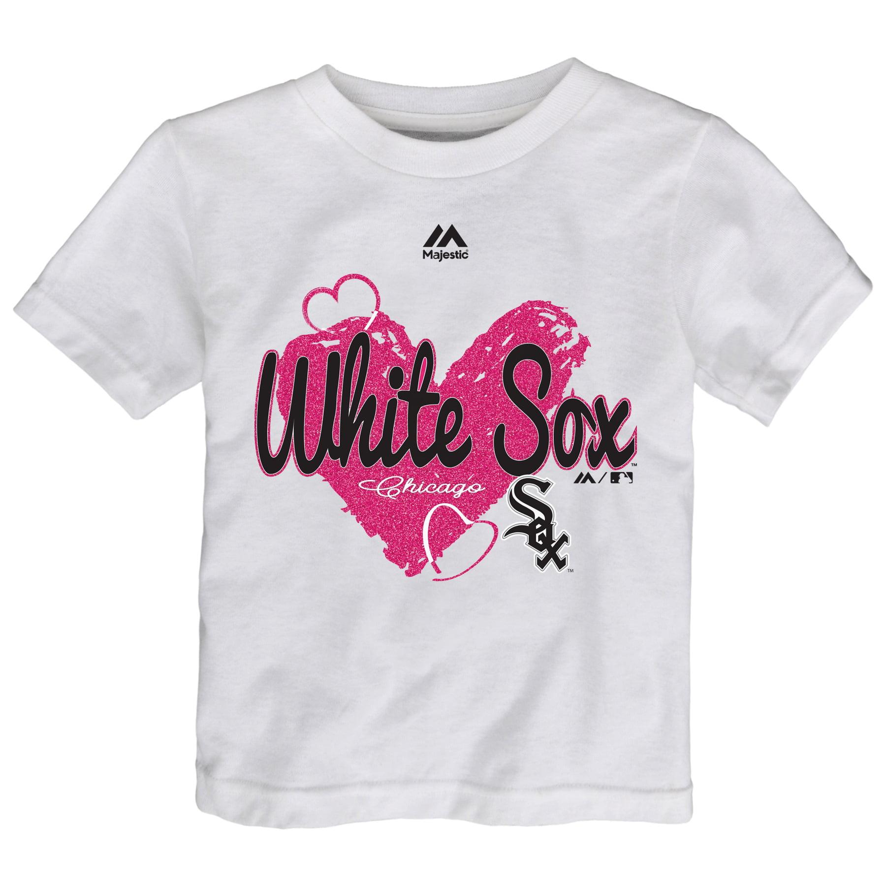 Chicago White Sox Majestic Girls Toddler Triple Heart T-Shirt - White