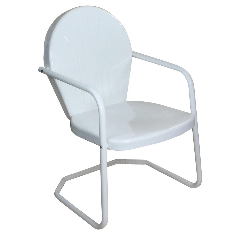 34 White Retro Metal Outdoor Tulip Chair
