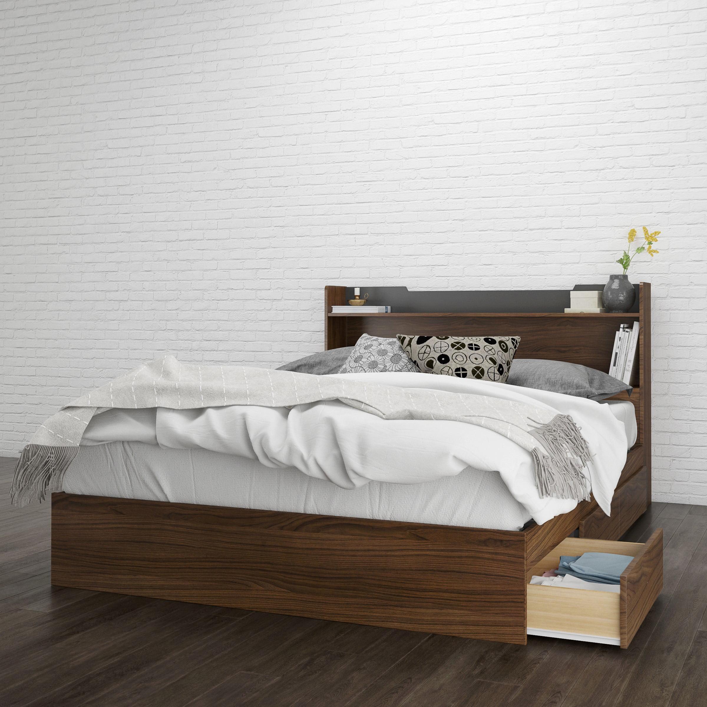 Nexera Cartel Storage Bed and Headboard, Walnut & Charcoal