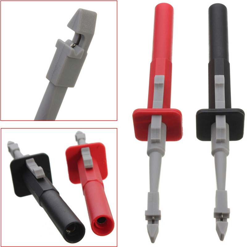 2pcs Safety Double Clip Test Clip Insulation Piercing Alligator Probes For Car Circuit Detection