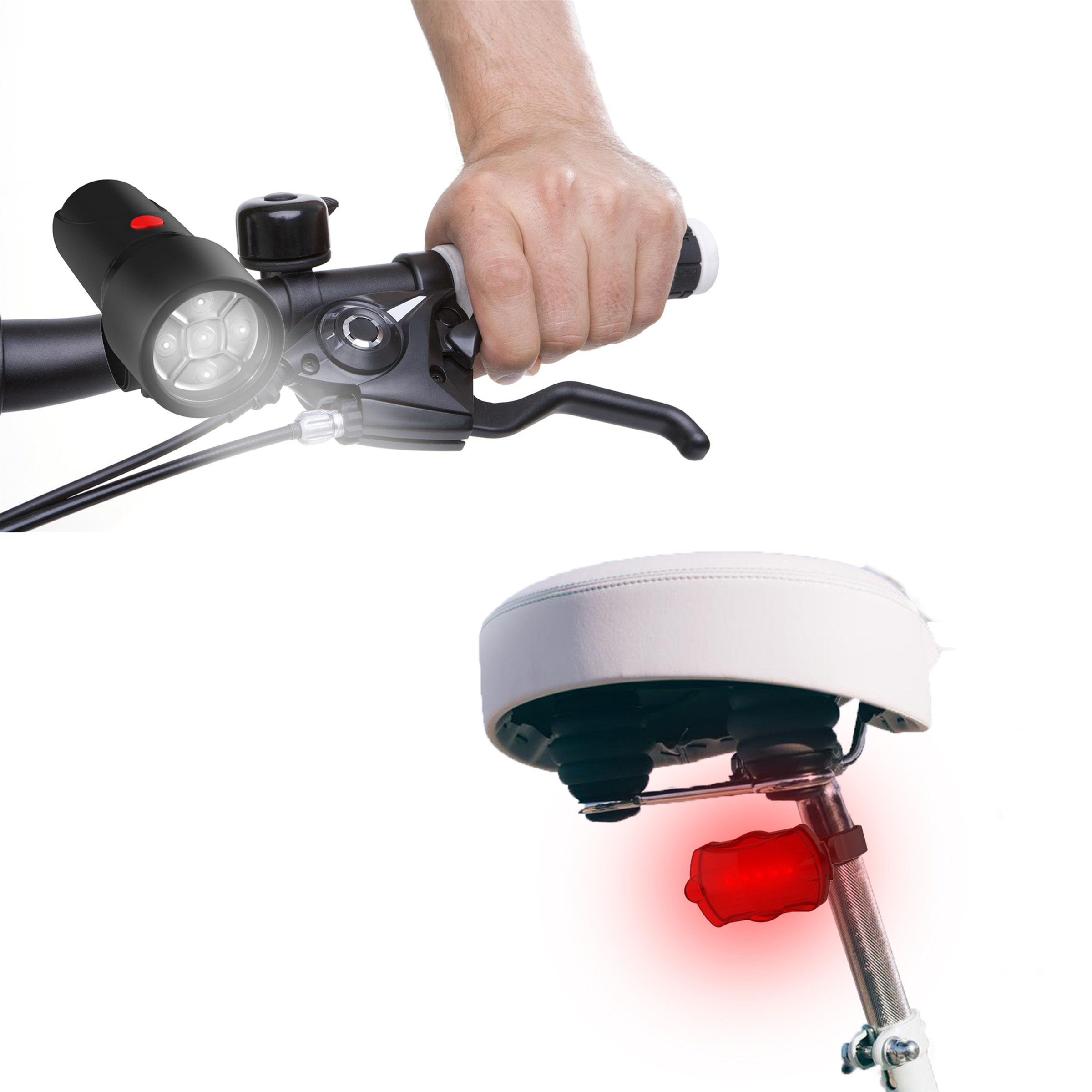 LED Bicycle Lights Set- Water Resistant Bike Front Headlight and Back Tail Light with 5 Flashing Red Light Modes for Biking Safety by Wakeman Outdoors