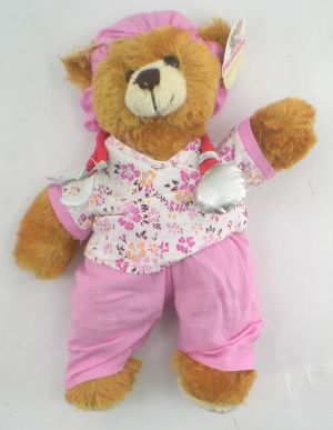 Pink Scrubs Nurse Teddy Bear With Stethescope 8 Inch by PLUSHLAND BEARS