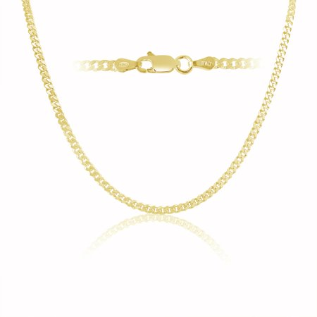 Men's Yellow Gold Plated 3mm Cuban Curb Chain Link Necklace Sterling Silver , 14 inch
