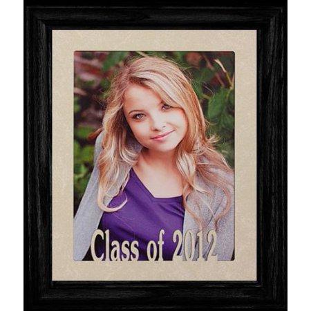 8X10 Class Of 2012 Portrait Senior/Graduate School Photo Keepsake Frame ~ Laser Cut Cream Mat With Frame (Black) ()
