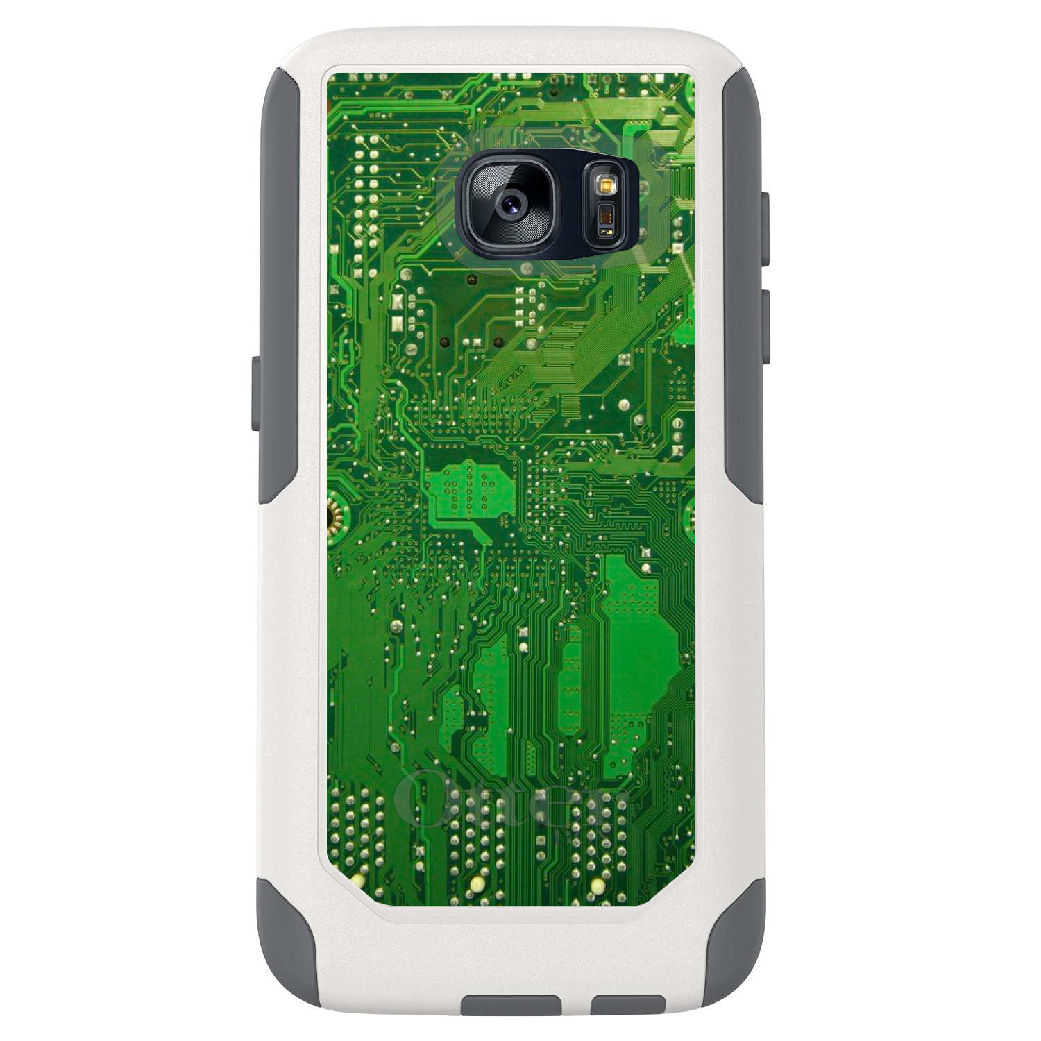DistinctInk™ Custom White OtterBox Commuter Series Case for Samsung Galaxy S7 - Green Circuit Board